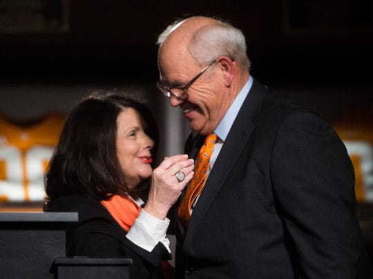 Chancellor Davenport greets athletic director Phillip Fulmer during the introduction ceremony of Jeremy Pruitt as Tennessee's next head football coach at the Neyland Stadium Peyton Manning Locker Room in Knoxville, Tenn. on Thursday, December 7, 2017.