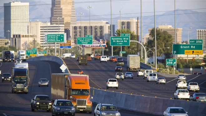 Traffic flows on Interstate 10 in Tucson. ADOT will be working on a project north of Tucson for the next two years to improve the Ina Road interchange.