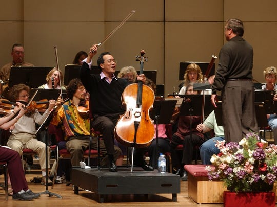 Consummate cellist Yo-Yo Ma performs with the Great Falls Symphony during a Friday afternoon during a 2004 rehearsal.