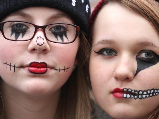 Michaela Henterly, left, and friend Katrina Ponski, both age 14, attend The Legend of Sleepy Howell