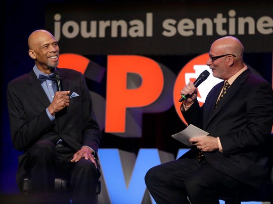 Gary D'Amato interviews Kareem Abdul-Jabbar for a Q&A at the 2018 Journal Sentinel High School Sports Awards in May.