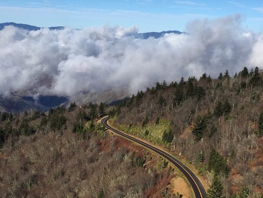 A view of the Blue Ridge Parkway from Waterrock Knob.