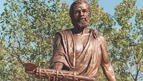 A statue of Cincinnatus at Bicentennial Commons shows