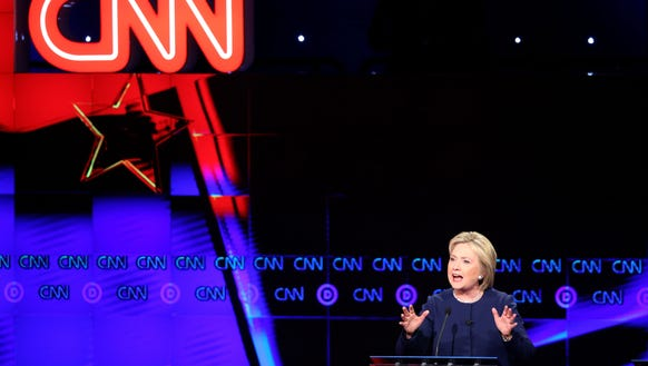 Hillary Clinton speaks during the CNN debate on March