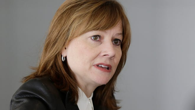 General Motors CEO Mary Barra addresses the media during a roundtable meeting with journalists on Jan. 23 in Detroit.