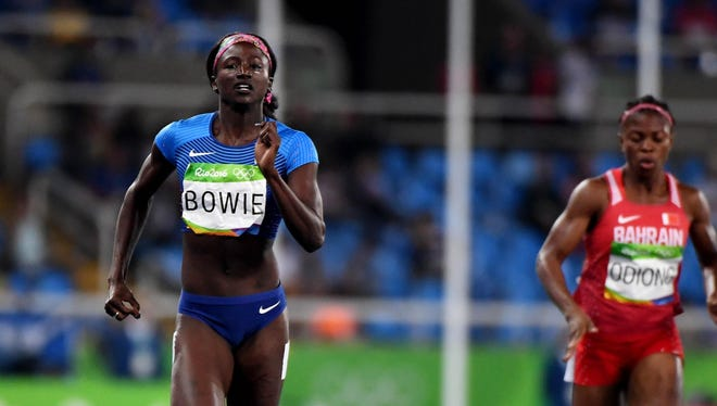 Aug 16, 2016; Rio de Janeiro, Brazil; Tori Bowie (USA) during the women's 200m semifinals in the Rio 2016 Summer Olympic Games at Estadio Olimpico Joao Havelange. Mandatory Credit: James Lang-USA TODAY Sports