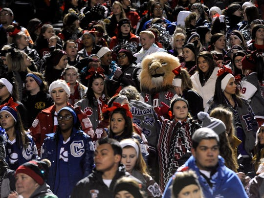 West Texas cheerleaders and their mascots packed Shotwell Stadium in Abilene Friday night Dec. 9, 2016 to cheer on the Iraan Braves. The cheerleading squad's sponsor Elizabeth Pope was killed a week earlier in an accident near Big Spring as the group returned from their game in Colorado City. Several squad members were injured, over 500 cheer squads from the region came to support them during their playoff game.