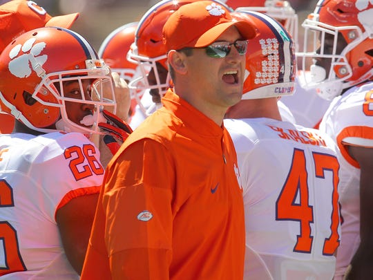 Clemson wide receiver coach Jeff Scott during the Clemson's NCAA college football spring game at Memorial Stadium in Clemson, S.C. on Saturday, April 8, 2017.