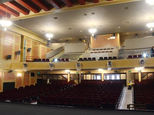 A from the stage inside the Bohm Theatre shows the work in progress, and the balcony as it awaits new seating. (Click on photo to expand.)