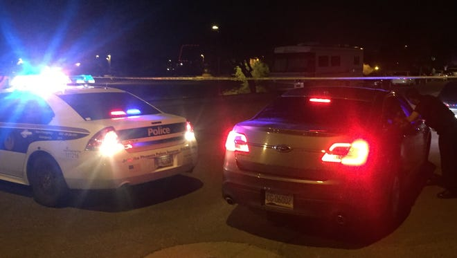 Phoenix police were at the scene of a shooting involving an officer. A man was wounded Friday night.