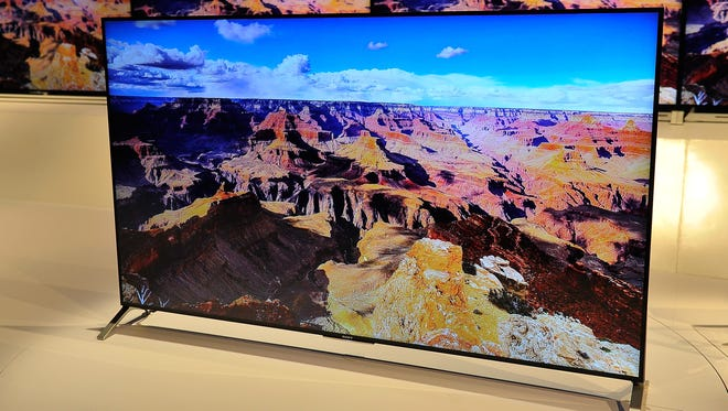 Sony's X900C ultra-slim 4K UHD TV seen at the 2015 International CES at the Las Vegas Convention Center.