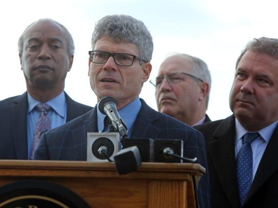 Paul Gallay, Riverkeeper president,  speaks at a press