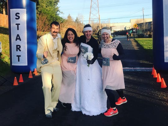 Angela Watts and other members of her Resolution Relay team joined in the nuptial fun as well.