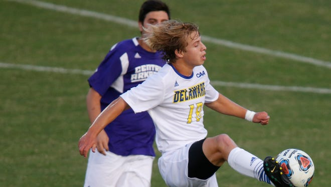 Delaware's Robert Gillin drives toward the Central Arkansas net in the first half of the Blue Hens' 1-0 win in their season opener Friday at Grant Stadium.