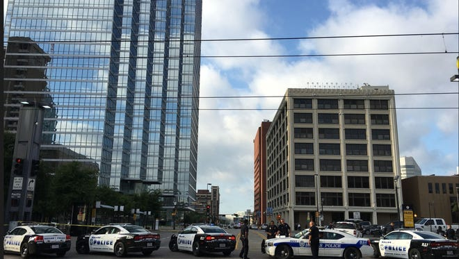 This is downtown Dallas the morning after snipers opened fire on police officers during protests over the two recent fatal police shootings involving black men on July 8, 2016.