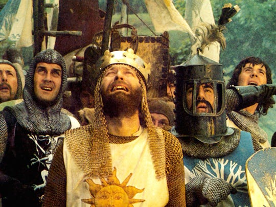 "From left, Eric Idle, John Cleese, Graham Chapman, Terry Jones and Michael Palin in ""Monty Python and the Holy Grail."""