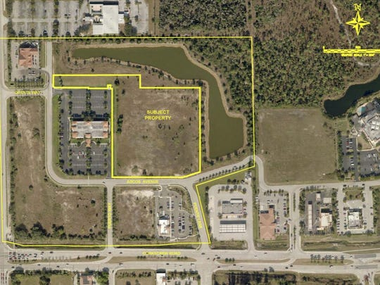 "An aerial rendering of the Phoenix at Estero assisted living facility is indicated by ""Subject Property."""