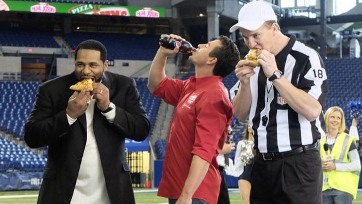 With his 2 million dollar Super Bowl bonus, Manning could buy at least 15 Papa John franchises