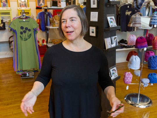 Jan Rhodes Norman runs her Silk Oak textile goods and other locally produced items from her new store location in the DeWitt Mall in Ithaca. Norman is a founder of Local First Ithaca, a 200-member network of merchants, restaurateurs, farmers, and professional-service providers and non-profits.