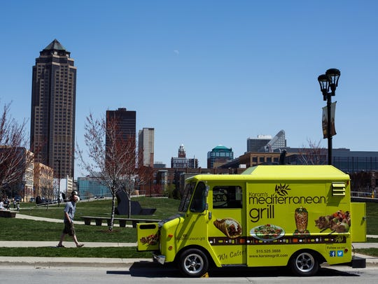 Karam's Mediterranean Grill food truck sits at the Pappajohn Sculpture Park on Wednesday, April 13, 2016, in Des Moines.