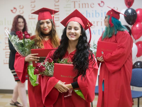 Arianna Diaz graduates on Wednesday during the Pace Center for Girls, Lee's commencement at the center in Fort Myers. The ceremony honored three graduates, their teachers, counselors and families. State Sen. Lizbeth Benacquisto gave the commencement address. PACE provides academic programs and social services for at risk girls in the Lee County area.