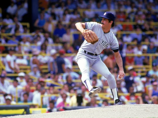 Ron Guidry of the New York Yankees pitches during a game in the 1987 season against the Chicago White Sox at Comiskey Park in Chicago.