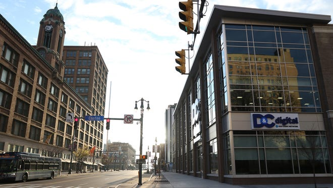 The Democrat and Chronicle moved to 245 East Main Street approximately five blocks east of its former location on Exchange Boulevard.