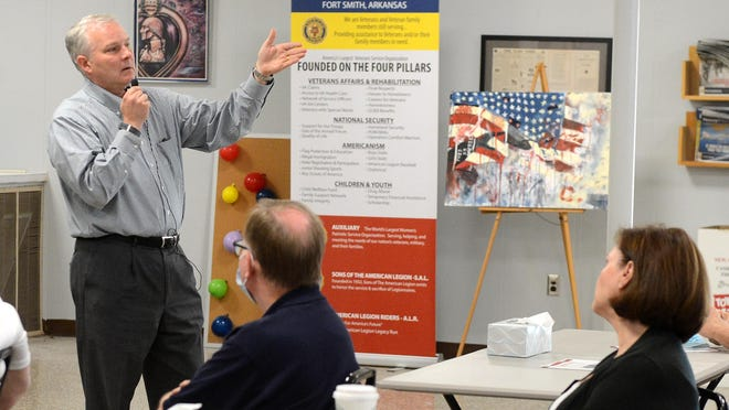 Arkansas Lt. Gov. Tim Griffin speaks during the Q&A Meeting at the American Legion Ellig-Stoufer Post 31 on Tuesday, Sept. 8 in Fort Smith.