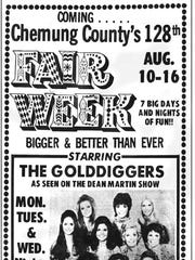 "Dean Martin's ""Gold Diggers"" appeared at the Chemung County Fair in 1970."