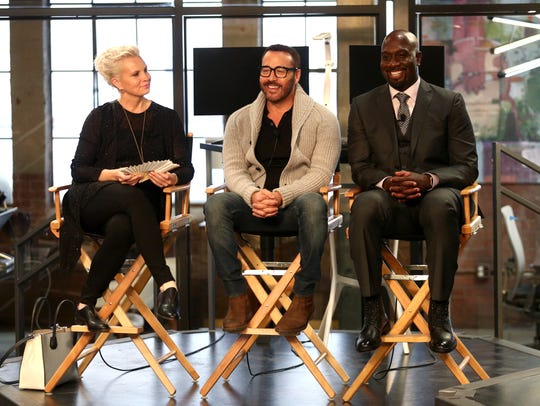 Also at CBS Studio Center, Monica Potter, Jeremy Piven