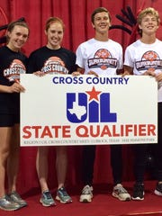 Burkburnett's Madelaine Johnston (from left to right), Olivia Johnson, Cole Jones and Sloan Lewis all will run at state on Saturday.