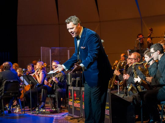 Jeremy Davis greets the crowd at a recent performance with the Fabulous Equinox Orchestra.