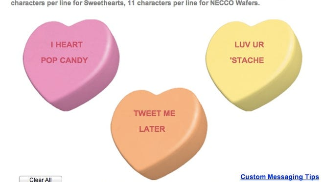 Necco allows users to create their own candy hearts -- even in solid gold.