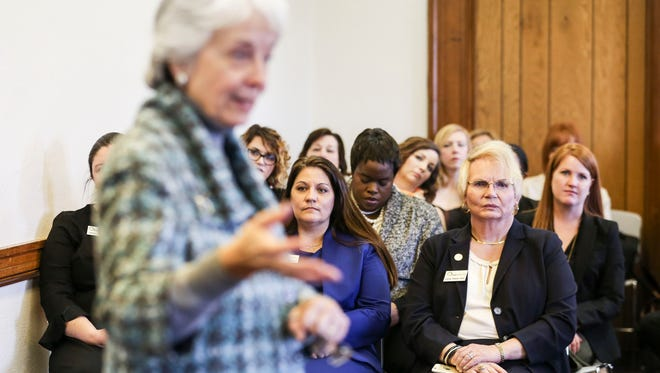 Former Lt. Gov. Crit Luallen speaks an Emerge Kentucky seminar, which seeks to increase the number of Democratic women in office.