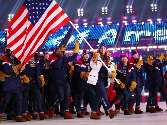 Luger Erin Hamlin leads the delegation from the United