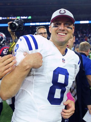 Indianapolis Colts quarterback Matt Hasselbeck (8) reacts to the victory at the end of an NFL football game Thursday, Oct. 8, 2015, at NRG Stadium in Houston, Texas. The Colts won the game, 27-20.