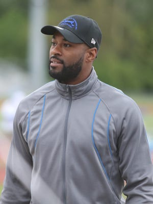 Former Detroit Lions receiver Calvin Johnson during the Calvin Johnson Jr. Foundation Catch a Dream football camp held at Southfield high school Saturday, May 20, 2017 in Southfield.