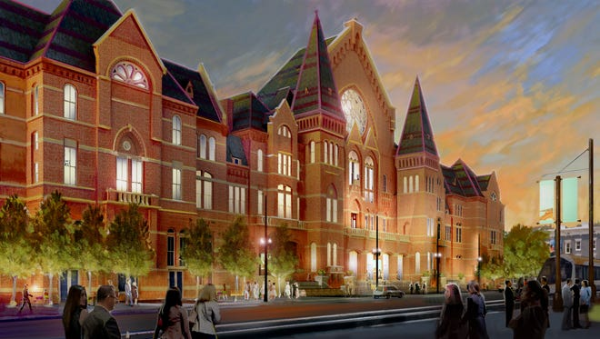 A new rendering of the exterior of Music Hall with the windows, previously closed, now opened up.