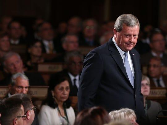 Congressman Tom Latham, R-Iowa, proceeds into the World