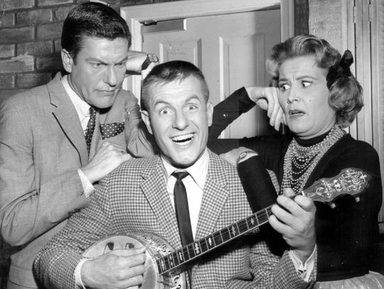 Dick Van Dyke, Jerry Van Dyke and Rose Marie pose in