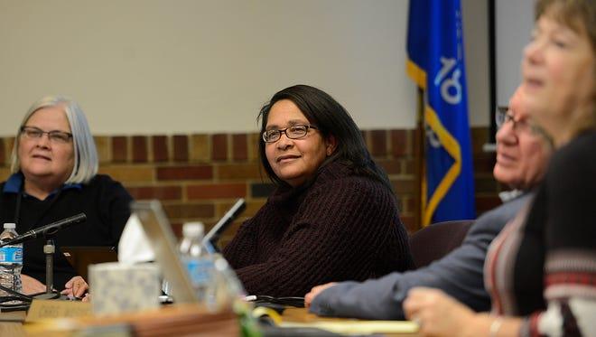 Green Bay School Board member Celestine Jeffreys during a recent school board meeting.