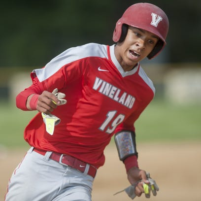 Vineland pitcher Jeff Valdiseri, left, and Vineland catcher Edwin Maestre have a talk during the 6th inning of the SJ Group IV first round playoff game between Vineland and Cherry Hill West, played at Cherry Hill West on Tuesday. 05.24.16