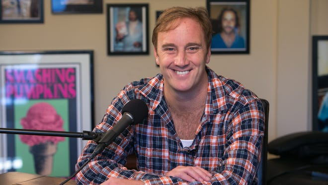 """12/2012 _Actor Jay Mohr (Jerry McGuire, Saturday Night Live) on the set of hisinternet podcast, """"Mohr Studios,"""" which is produced by his Fake Mustache company."""
