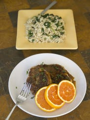Seared Chicken with Citrus Glaze and  Pearl Couscous