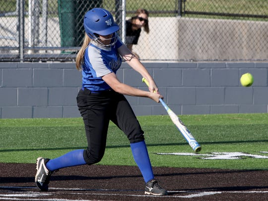 Windthorst's Grace Hoegger hits a double and drives