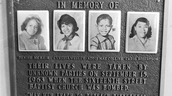Plaque remembering the four girls killed when the Ku Klux Klan bombed the 16th Street Baptist Church.