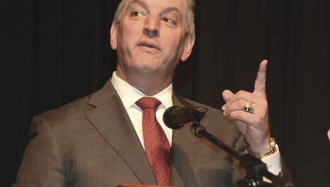 Louisiana Governor John Bel Edwards speaks to those attending the 2016 Regional Legislative Forum at the Bossier Civic Center Monday.