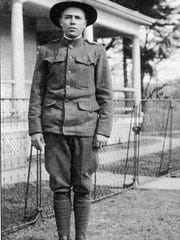 James Verne Hampson home on leave from the Army during World War I, 1918.