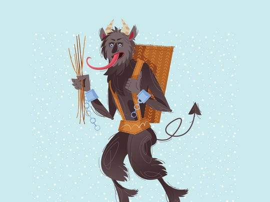 The Krampus is often depicted as hairy, with horns and a long tongue.