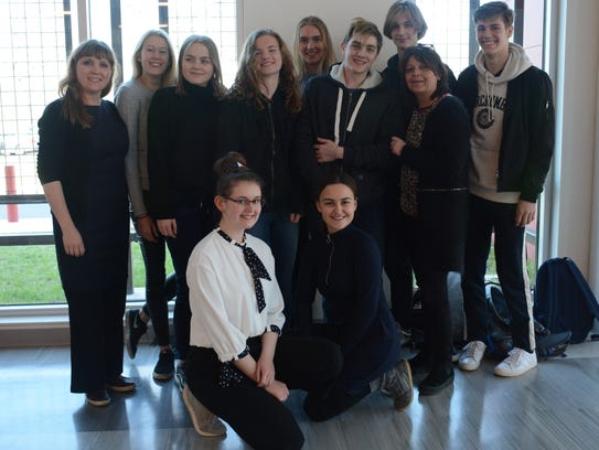 The nine students and two teachers from Roskilde Little